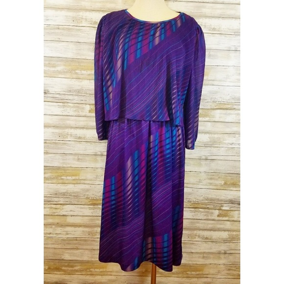 Plus Size Vintage 70s Purple Disco Dress